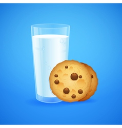 Realistic set of glass of milk and cookies vector image vector image