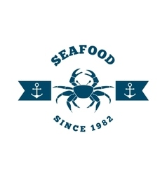 sea food frame crab isolated icon vector image