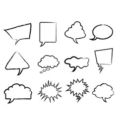 Speech bubbles outline set vector image vector image