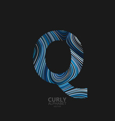 curly textured letter q vector image