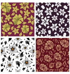 floral backgrounds set vector image
