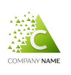 Letter c logo symbol in colorful triangle vector