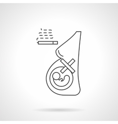 Smoking during pregnancy flat line icon vector image