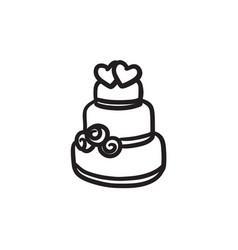Wedding cake sketch icon vector