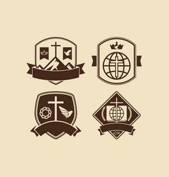 a set of christian and biblical logos vector image vector image