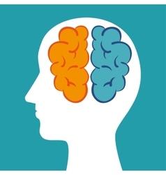 silhouette head brain mind icon vector image