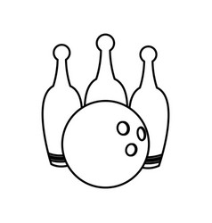 bowling ball and pin game equipment line vector image