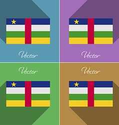 Flags Central African Republic Set of colors flat vector image