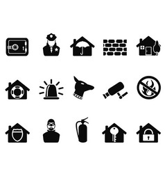 home security icons set vector image