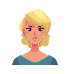 Pretty blond woman angry facial expression vector image