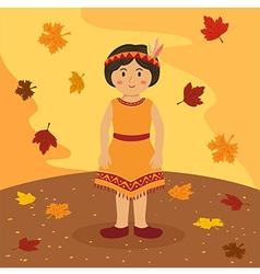 Thanksgiving native indian short hair girl vector