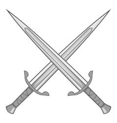 Two crossed swords icon gray monochrome vector image