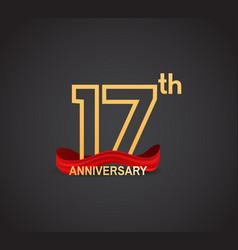 17 anniversary logotype design with line golden vector