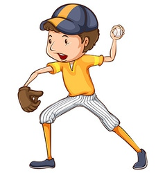 A coloured drawing of a baseball player vector image