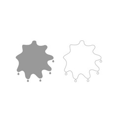 Abstract ink blot grey set icon vector
