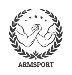 Arm wrestling logo vector