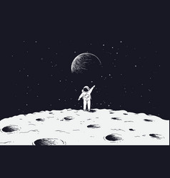 Astronaut stand on surface moon vector