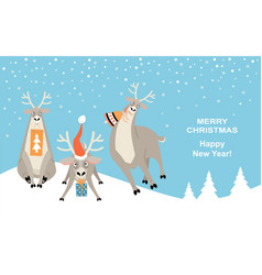 banner for christmas and new year with reindeer vector image