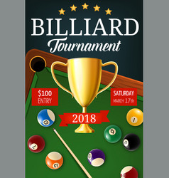 billiard tournament gold trophy cup vector image