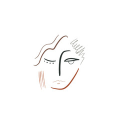 boho line drawing woman face fashion beauty vector image