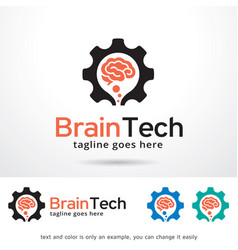 brain technology logo template vector image