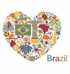 Brazilian icons in the form of a heart vector