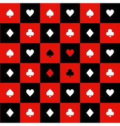 Card Suits Red Black Chess Board Background vector image