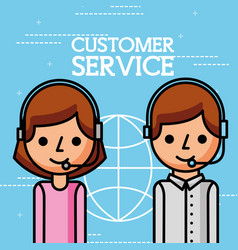 cartoon man and woman employees customer service vector image