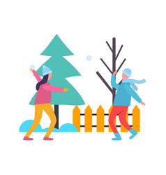 children kids playing snowballs at wintertime vector image