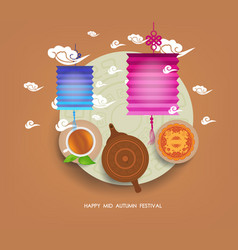 Chinese moon cake and green tea for mid autumn vector