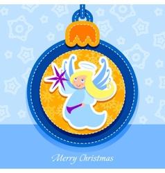 christmas ball postcard angel vector image