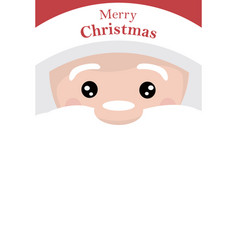 christmas card of santa claus face with white back vector image