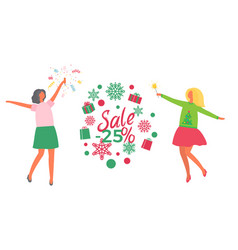 christmas party people and holiday sale vector image