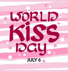 Congratulation world kiss day with handwritten vector