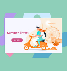 Couple traveling on a scootersummer vacation vector