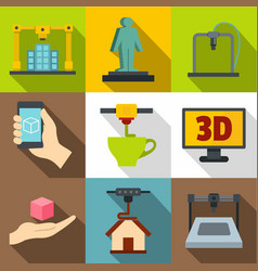 creation on a 3d machine icons set flat style vector image