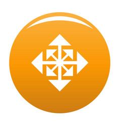 Cursor displacement arrow icon orange vector