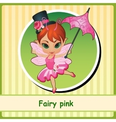 Cute fairy girl in pink dress vector