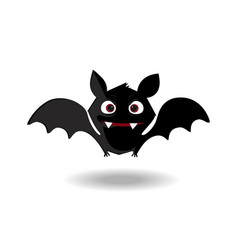 cute flying bat flittermouse with red eyes and vector image