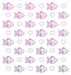 degraded outline tropical fish animal and heart vector image