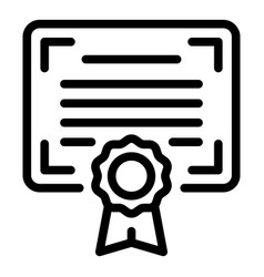 degree certificate icon outline style vector image