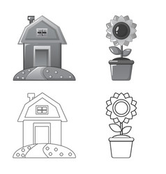 Design of farm and agriculture symbol set vector