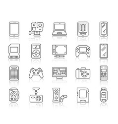 device simple black line icons set vector image