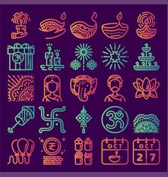 Diwali icon set vector