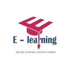 E learning logo template vector image