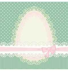 Easter vintage card with egg on green background vector image