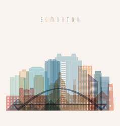 Edmonton skyline detailed silhouette transparent vector