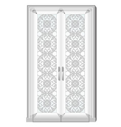 entrance door with exquisite ornamentation on the vector image