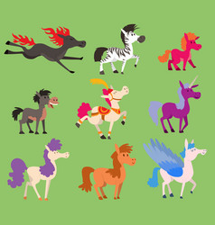 fantasy color small horse pony stallion vector image