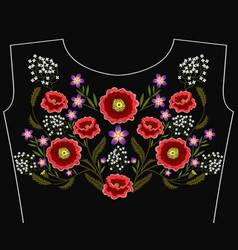 Fashion embroidered floral ornament vector